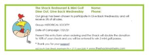 Coupon for The Shack Give Back event 2021