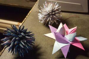 German paper star and porcupine balls